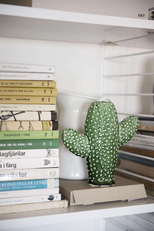 Bokhylla från String. De blandade böckerna om djur och natur är loppisfynd. Kaktus från Serax.